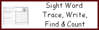 Sight Word Trace, Write, Find & Count