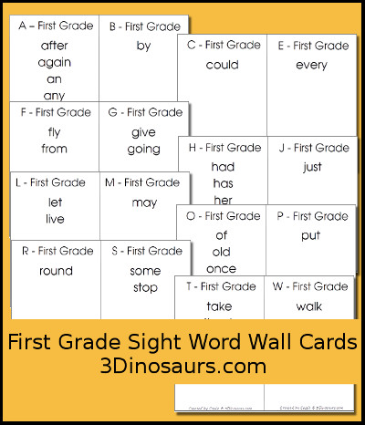 image regarding Printable Word Wall Cards With Pictures identified as 3 Dinosaurs - Sight Phrase Wall Playing cards