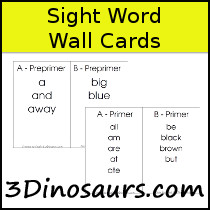 Sight Word Wall Cards