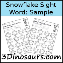 Sight Word Snowflake Find Samples