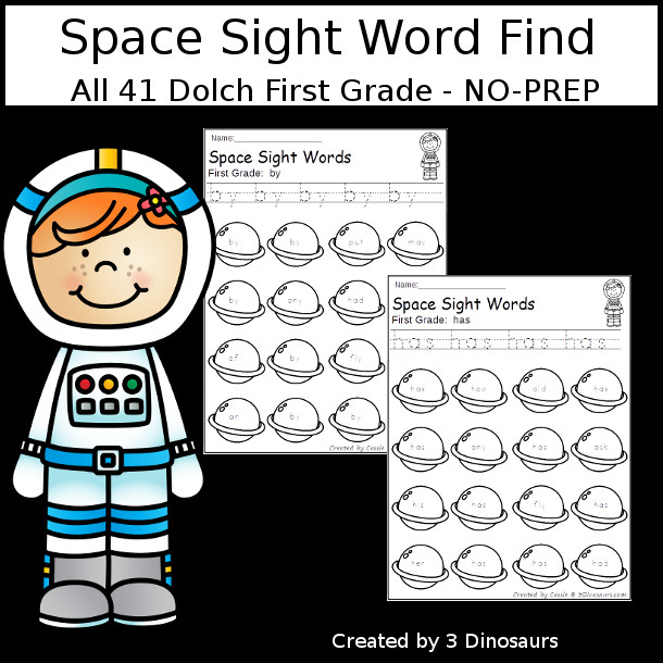 Space Sight Word Find: First Grade - easy to use no-prep printable $ - 3Dinosaurs.com