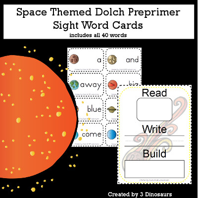 Space Theme Dolch Preprimer Sight Words - all 40 words in the Dolch Preprimer $ - 3Dinosaurs.com