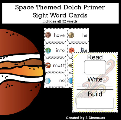 Space Theme Dolch Preprimer Sight Words - all 52 words in the Dolch Primer $ - 3Dinosaurs.com