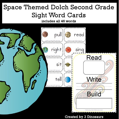 Space Theme Dolch Second Grade Sight Words - all 46 words in the Dolch Second Grade $ - 3Dinosaurs.com