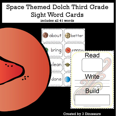 Space Theme Dolch Third Grade Sight Words - all 41 words in the Dolch Third Grade $ - 3Dinosaurs.com