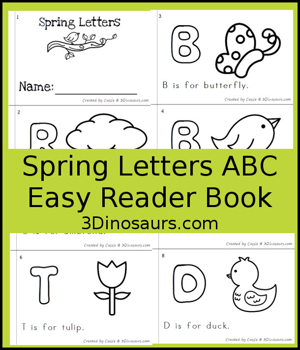 Free Spring Themed ABC Easy Reader Book - 8 page books with letters and words that have a spring theme - 3Dinosaurs.com