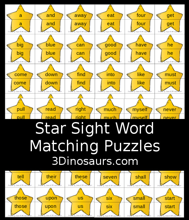 Free Star Sight Word Matching Puzzles - all 220 Dolch sight words in simple 2 piece puzzles for kids to have fun matching. Plus, these are great for a space theme - 3Dinosaurs.com