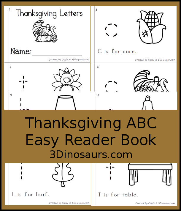 Free Thanksgiving Themed ABC Easy Reader Book - 10 page book with abc themes for a Thanksgiving themes with tracing and reading - 3Dinosaurs.com