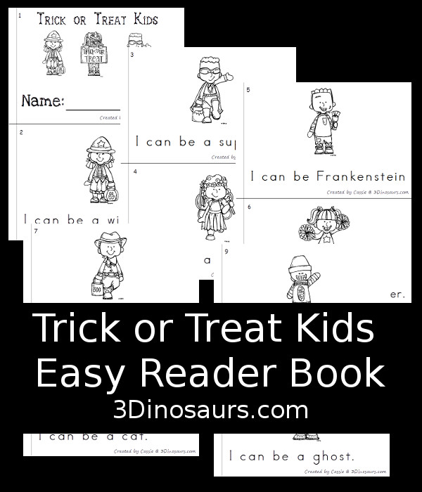 FREE rick or Treat Kids Easy Reader Book - 10  page book for PreK and Kinder age kids - 3Dinosaurs.com