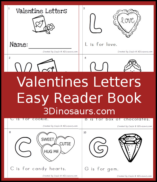 FREE ABC Themed Valentines Easy Reader Book - 10 page book - 3Dinosaurs.com
