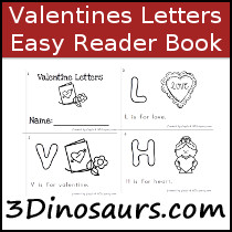 Valentines ABC Easy Reader Book - 10 pages - 3Dinosaurs.com