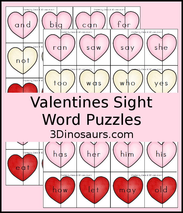 Fun Valentines Themed Sight Word Puzzles Sensory Bag | 3 Dinosaurs