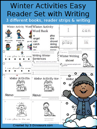 Winter Activities Easy Reader Set - 3 books with reading strips, writing and word charts to use with the easy reader books $ - 3Dinosaurs.com