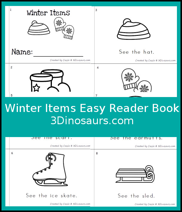 Free Winter Items Easy Reader - 1 book with 8 pages of winter items - 3Dinosaurs.com