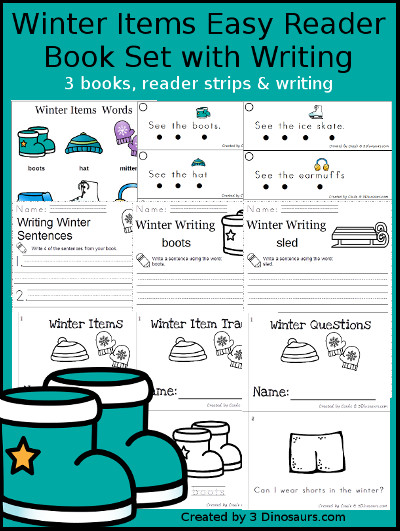 Winter Items Easy Reader Set - 3 books with reading strips, writing and word charts to use with the easy reader books $ - 3Dinosaurs.com