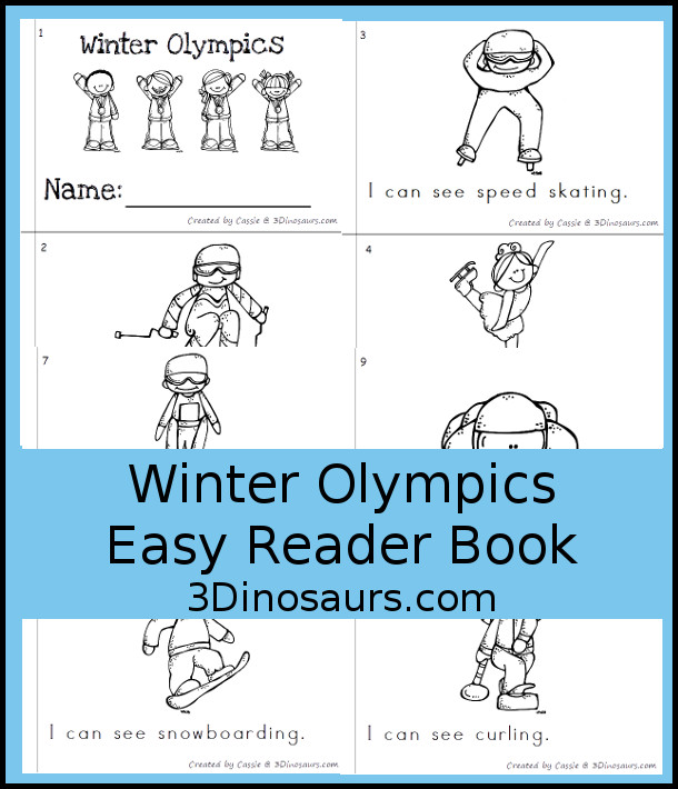 FREE Winter Olympic Easy Reader Book - 8 page easy to ready books for the Winter Olympics - 3Dinosaurs.com