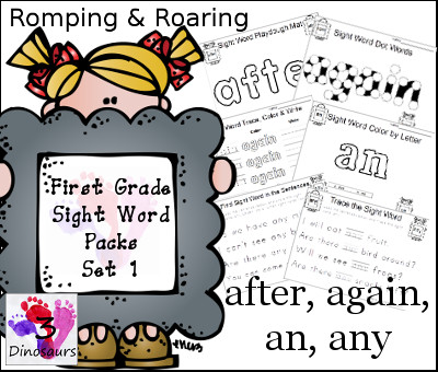 Romping & Roaring First Grade Sight Words: after, again, an, any - 3Dinosaurs.com