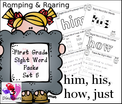 Romping & Roaring First Grade Sight Words Set 5: Him, His, How, Just - 3Dinosaurs.com