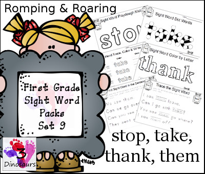 Romping & Roaring First Grade Sight Words Set 9: stop, takes, thank, them - 3Dinosaurs.com