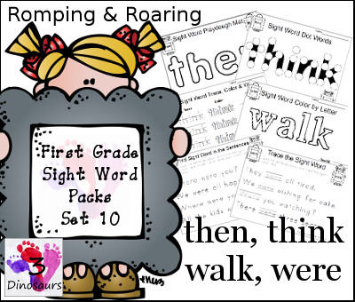 Romping & Roaring First Grade Sight Words Set 10: then, think, walk, were - 3Dinosaurs.com