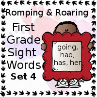 Free Romping & Roaring First Grade Sight Words Packs Set 4: Going, Had, Has, Her - 3Dinosaurs.com