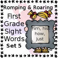 Free Romping & Roaring First Grade Sight Words Packs Set 5: Him, His, How, Just - 3Dinosaurs.com