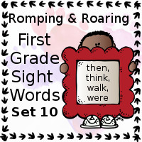 Free Romping & Roaring First Grade Sight Words Packs Set 10: Then, Think, Walk, Were - 3Dinosaurs.com