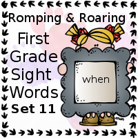 Free Romping & Roaring First Grade Sight Words Packs Set 11: When - 3Dinosaurs.com