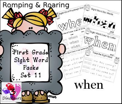Romping & Roaring First Grade Sight Words Set 11:  - 3Dinosaurs.com