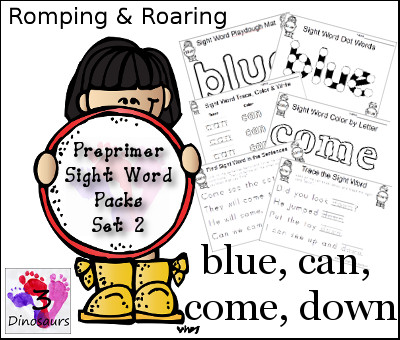 Romping & Roaring Preprimer Sight Words: blue, can, come, down - 3Dinosaurs.com