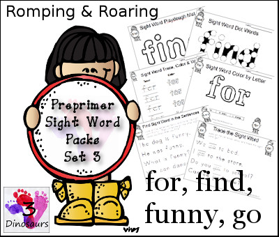 Romping & Roaring Preprimer Sight Words: find, for, funny, go - 3Dinosaurs.com
