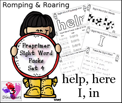 Romping & Roaring Preprimer Sight Words: help, here, I, in - 3Dinosaurs.com