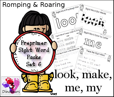Romping & Roaring Preprimer Sight Words: look, make, me, my - 3Dinosaurs.com