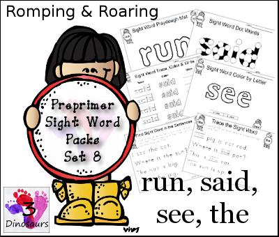 Romping & Roaring Preprimer Sight Words: run, said, see, the - 3Dinosaurs.com