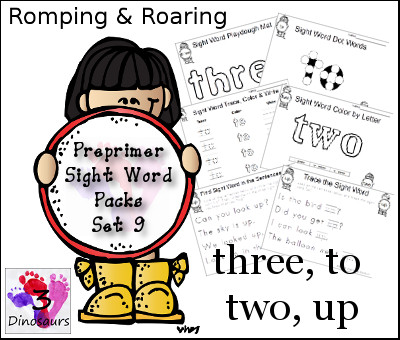 Romping & Roaring Preprimer Sight Words: three, to, two, up - 3Dinosaurs.com