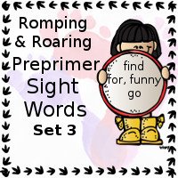 Free Romping & Roaring Preprimer Sight Words Packs Set 3: find, for, funny, go