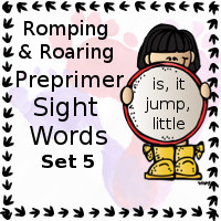 Free Romping & Roaring Preprimer Sight Words Packs Set 5