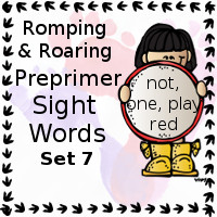 Free Romping & Roaring Preprimer Sight Words Packs Set 7