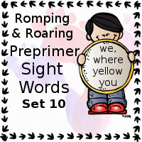 Free Romping & Roaring Preprimer Sight Words Packs Set 10: we, where, yellow you