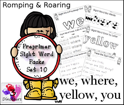 Romping & Roaring Preprimer Sight Words: we, where, yellow you - 3Dinosaurs.com