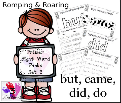 Romping & Roaring Primer Sight Words: but, came, did, do - 3Dinosaurs.com