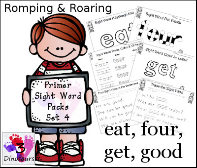 Romping & Roaring Primer Sight Words: eat, four, get, good - 3Dinosaurs.com