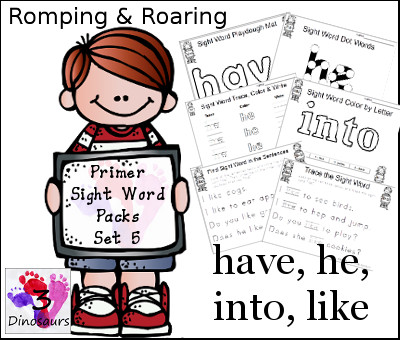 Romping & Roaring Primer Sight Words: have, he, into, like - 3Dinosaurs.com