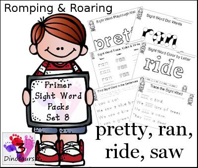 Romping & Roaring Primer Sight Words: pretty, ran, ride, saw - 3Dinosaurs.com