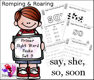 Romping & Roaring Primer Sight Words: say, she, so, soon - 3Dinosaurs.com