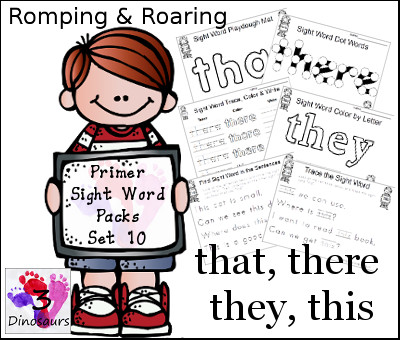 Romping & Roaring Primer Sight Words: that, there, they, this - 3Dinosaurs.com