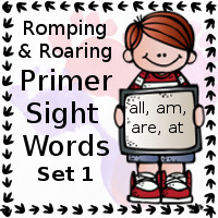 Free Romping & Roaring Primer Sight Words Packs Set 1