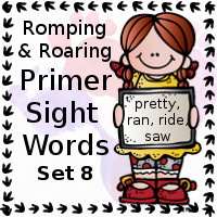Free Romping & Roaring Primer Sight Words Packs Set 8