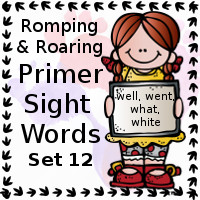Free Romping & Roaring Primer Sight Words Packs Set 12: well, went, what, white - 3Dinosaurs.com