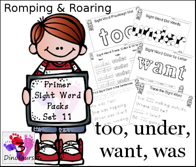 Romping & Roaring Primer Sight Words: too, under, want, was - 3Dinosaurs.com